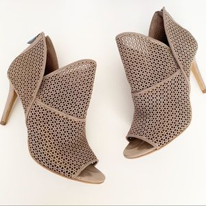 Vince Camuto Vatena Taupe Leather Cutout Bootie